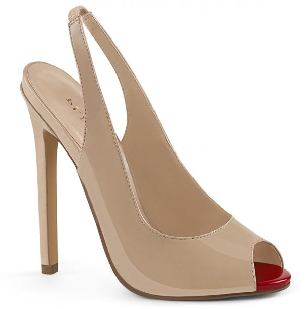 Patent stiletto peep toe sling pumps SEXY-08 - Nude