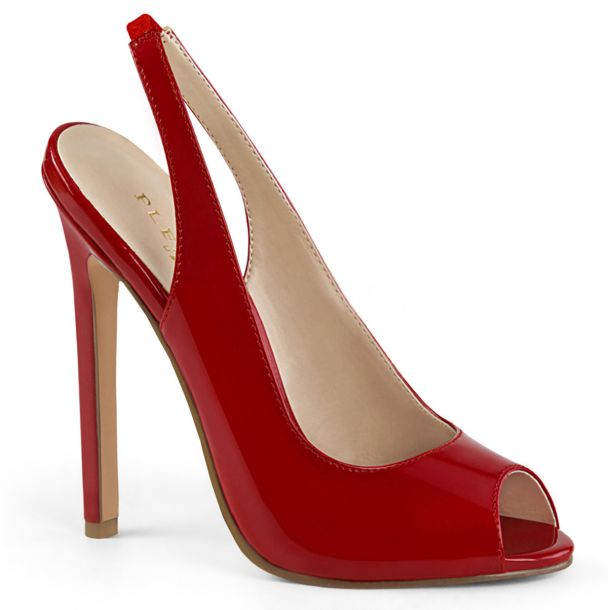 Patent stiletto peep toe sling pumps SEXY-08 - Red