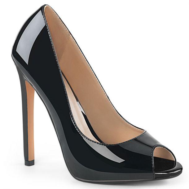 Stiletto Peep Toes SEXY-42 - Patent Black