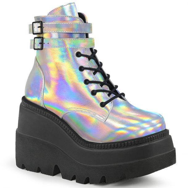 Platform Ankle Boots SHAKER-52 - Silver Hologram