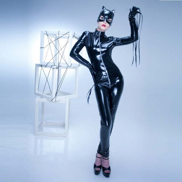Stretch Vinyl Catsuit - Black*