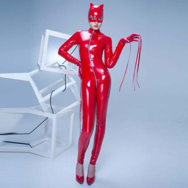 SWEETY Stretch Vinyl Catsuit - Red*