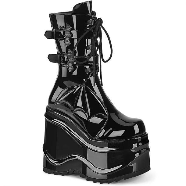 Gothic Platform Boots WAVE-150 - Patent Black