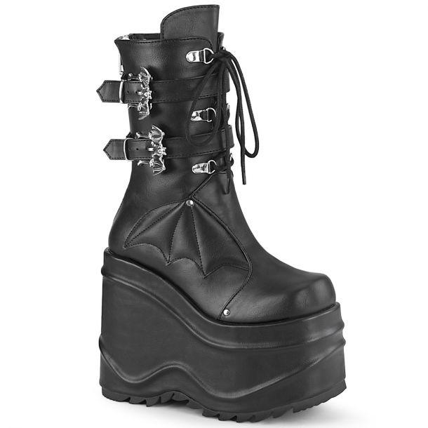 Gothic Platform Boots (Vegan) WAVE-150 - Faux Leather Black