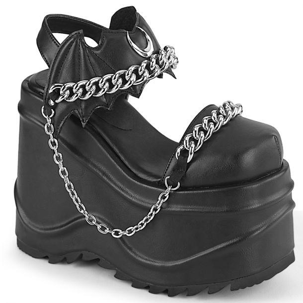 Gothic Platform Boots (Vegan) WAVE-20 - Faux Leather Black