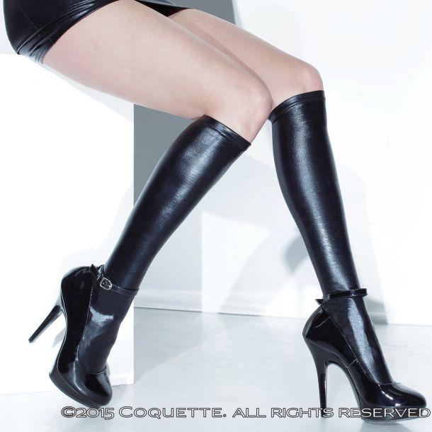 Wetlook Knee High Stockings - Black