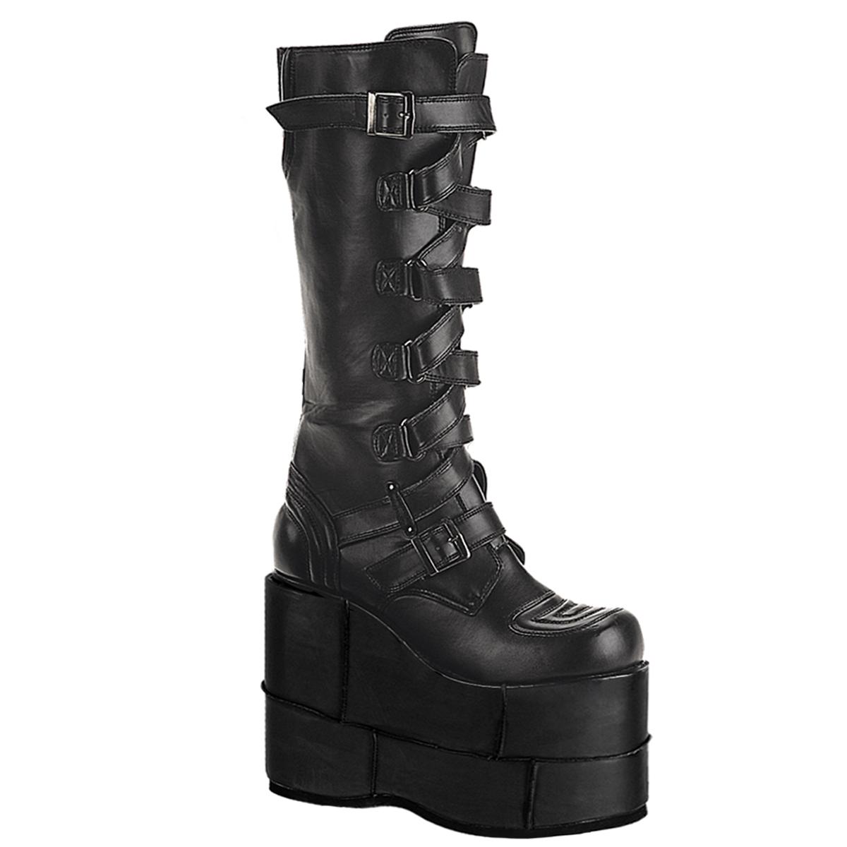 order detailed look website for discount Platform Boots STACK-308 - PU Black, Demonia