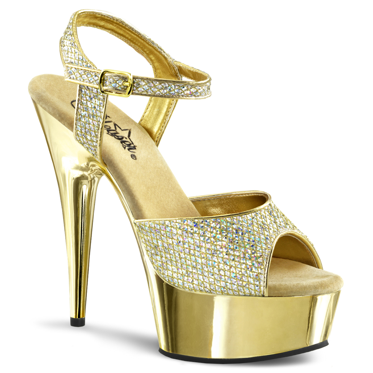 b1fe2a771c2 Platform High Heels DELIGHT-609-5G - Gold Glitter
