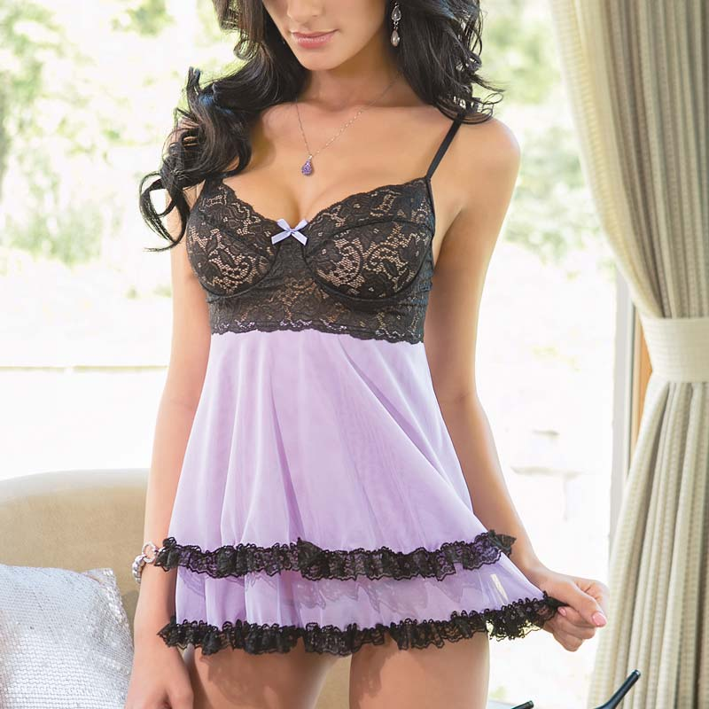 New Coquette 1178 Lilac And Black Lace Babydoll Set