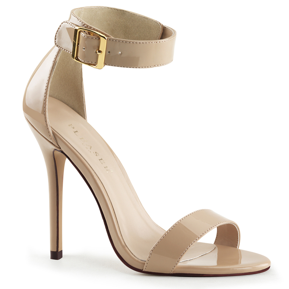 PLEASER Stiletto High Heels Open Toe Closed Back Patent Sandals AMUSE-15 Black