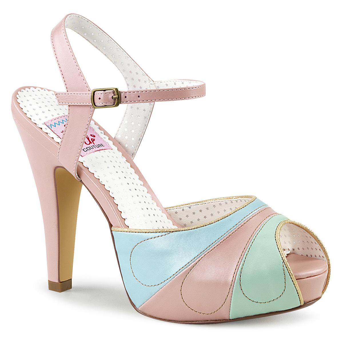 79af93b662df Retro Sandal BETTIE-27 - Pink · Retro Sandal BETTIE-27 - Pink. Multicolored peep  toe high-heeled sandal with concealed platform