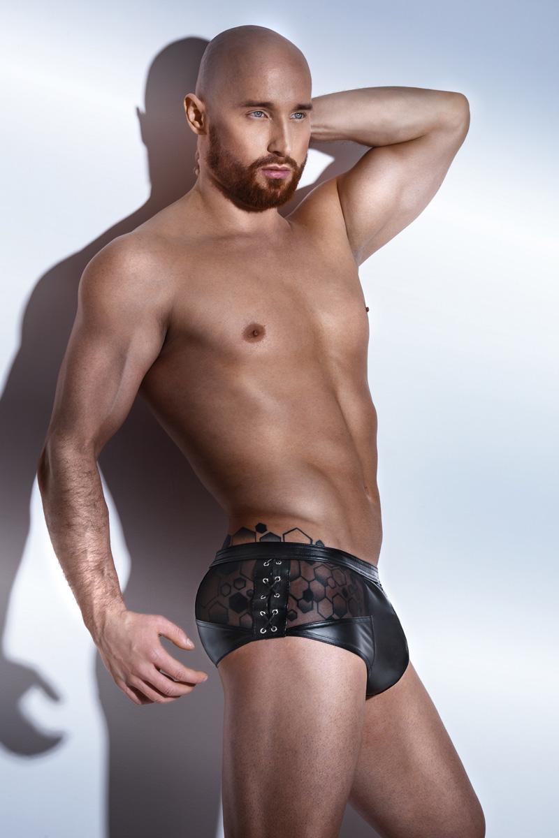 Wet Look Boxer Shorts H046 - Black, Noir Handmade
