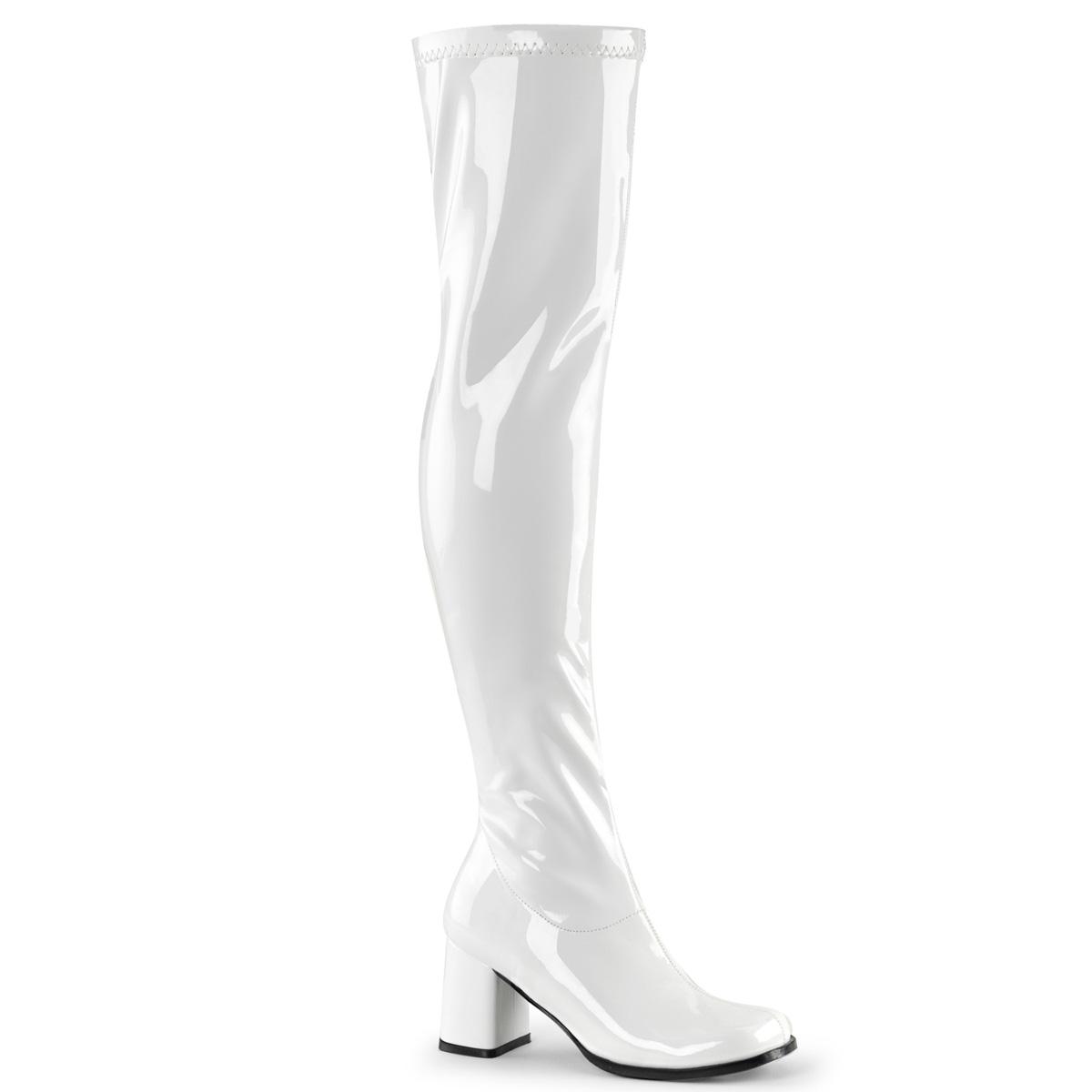 Funtasma GOGO-300 Women/'s White Patent  Costume Block Heel Knee High Boot