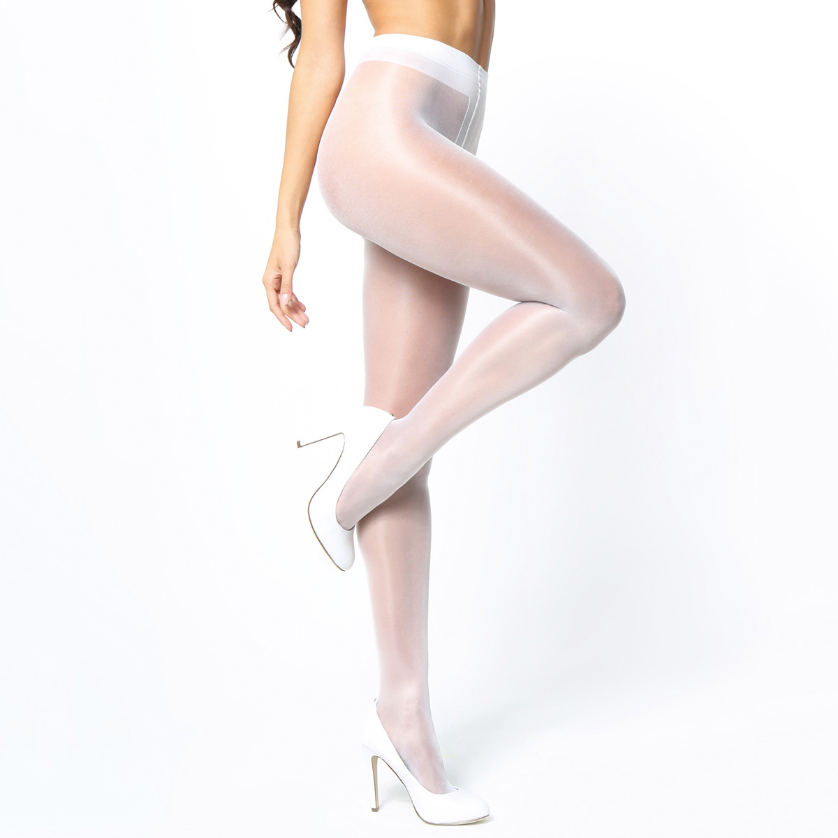 White crotchless pantyhose