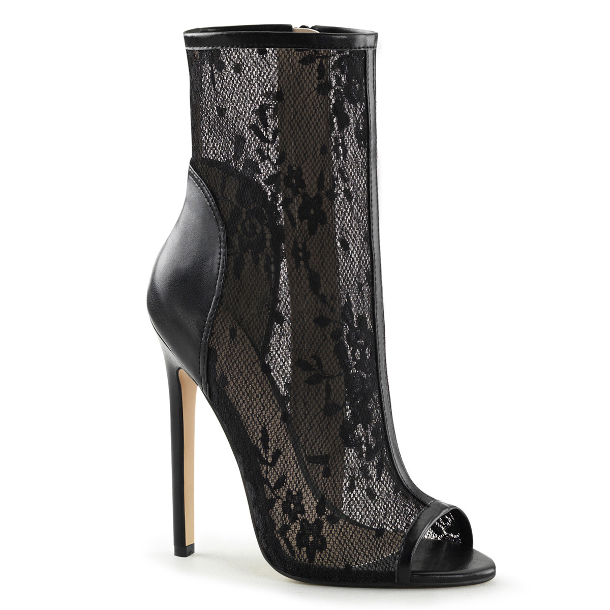 Fabulicious 5 Inch Heel Open Toe Bootie With Lace Overlay Inner Side Zipper