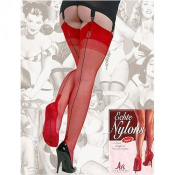 Seamed Nylons CUBAN Heel Red/Black Seam*