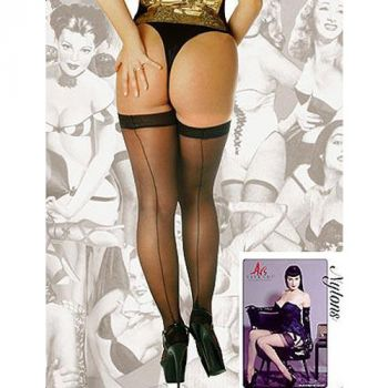 Hold-Up Seam Nylons Black*