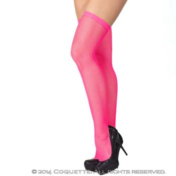 Fishnet Stockings With Slim Band - Neon Pink*