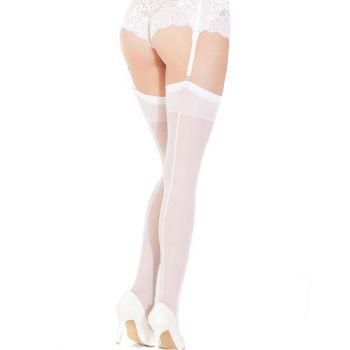 Back Seam Thigh High Stockings - White*