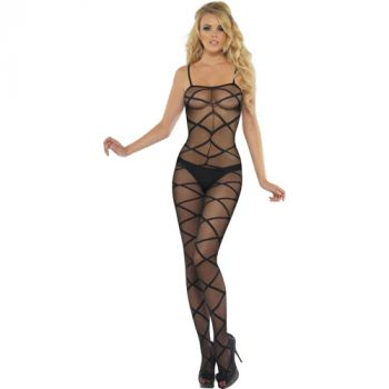Sheer Body Stocking crotchless : Black*