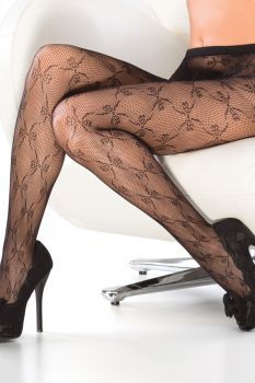 Fishnet Stockings with Bow Details - Black