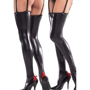 Wetlook Thigh High Stockings - Black