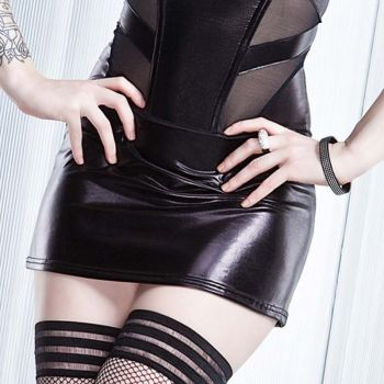 Wetlook Mini Skirt - Black
