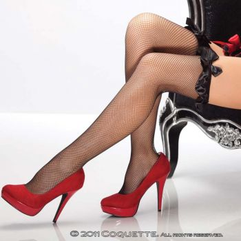 Fishnet Stockings with Satin Ruffle - Black*
