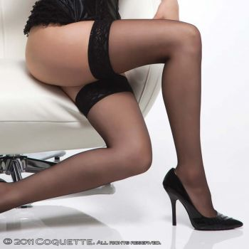 Suspender Stockings with Lace - Black