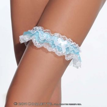 Lace Leg Garter - White/Blue