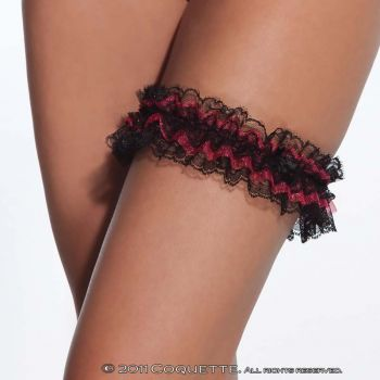 Lace Leg Garter - Black/Red