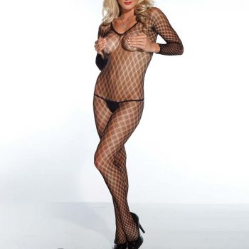 Long Sleeved Bodystocking Crotchless - Black