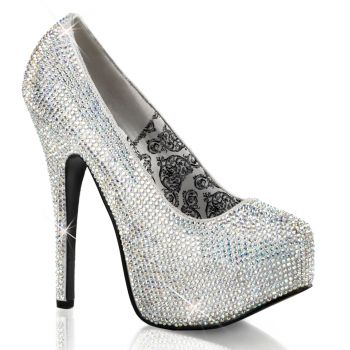 Rhinestone High Heels TEEZE-06R - Silver iridescent