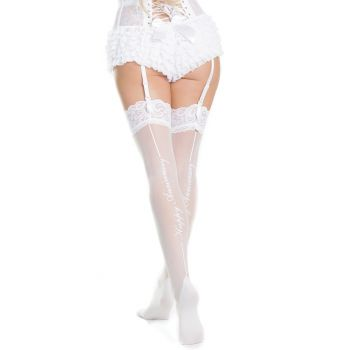 """Bridal Stockings """"Happy Anniversary"""" with Lace - White*"""