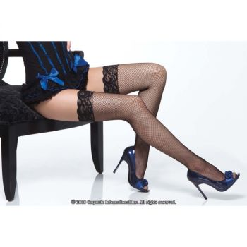 Fishnet Stockings with Lace : Black*