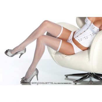 Fishnet Stockings With Slim Band : White*