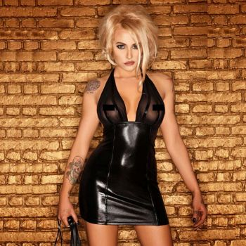 Wetlook / Tulle Neckholder Minidress - Black