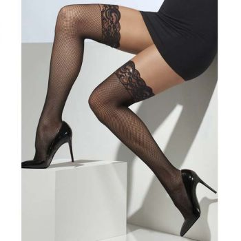 Fishnet Hold-Up Stockings with Lace Top : Black*