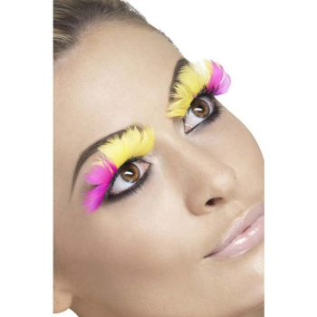 Feather Eyelashes -  Pink and Yellow*