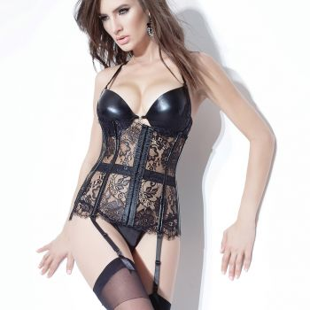 Lace and PVC Waist Cincher - Black