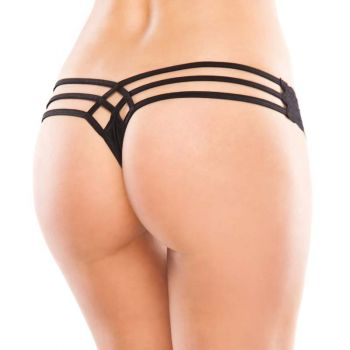 Lace and Lycra Thong - Black