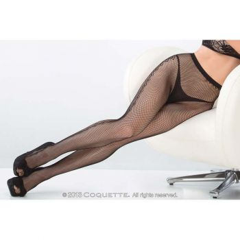 Fishnet Pantyhose with Diamond Detail - Black
