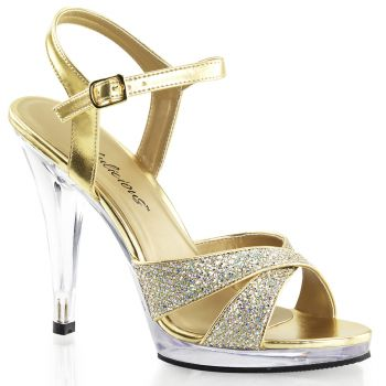 Platform High Heels FLAIR-419G- Gold/Clear