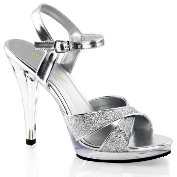 Platform High Heels FLAIR-419G- Silver/Clear