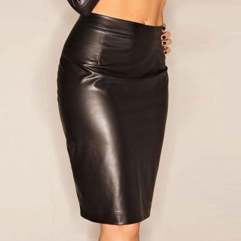 Kneelength Wetlook Skirt - Black