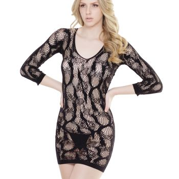 Longsleeve Lace Mini Dress - Black