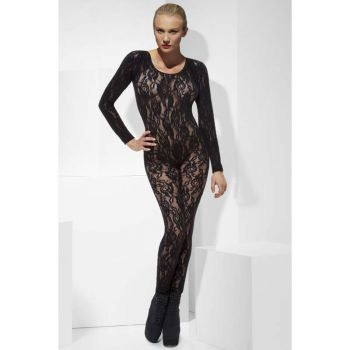 Long Sleeve Lace Bodystocking : Black*
