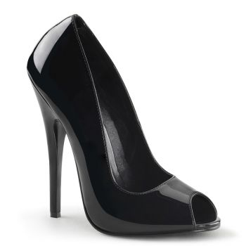 Peep Toe High Heels DOMINA-212 - Patent Black