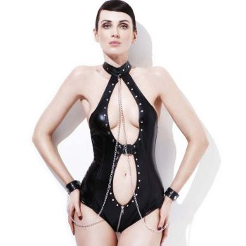 Wetlook Chain Bodysuit  - Black
