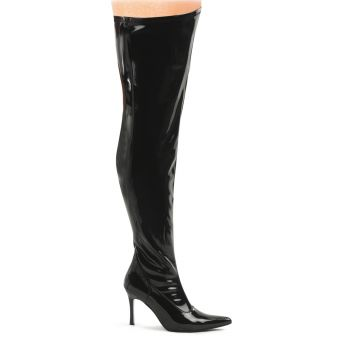 Overknee Boots LUST-3000X (Wide Shaft) - Patent black